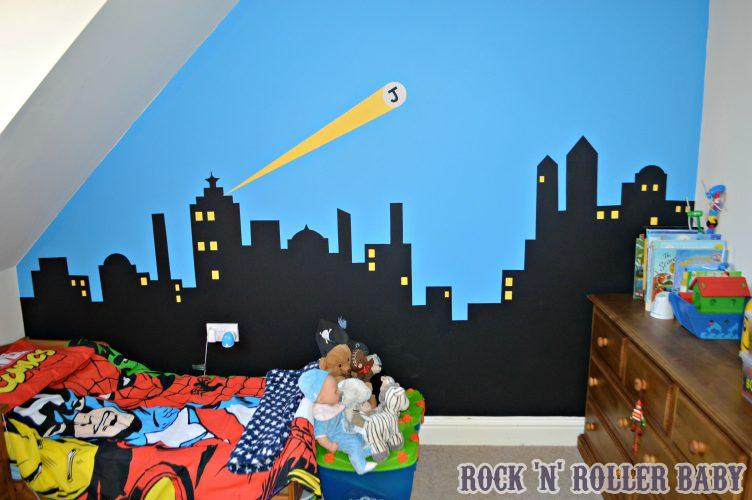 JImmy is thrilled with his new room! Super heroes are us! My Mum did the bones of this hand painted mural!