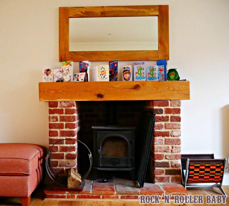 I adore having a fire place. A real fire place and having somewhere to display the birthday cards! The log cradle is by Concrete Ty (my clever cousin) and the magazine rack is from the London Transport Musum to remind us a little of London life!